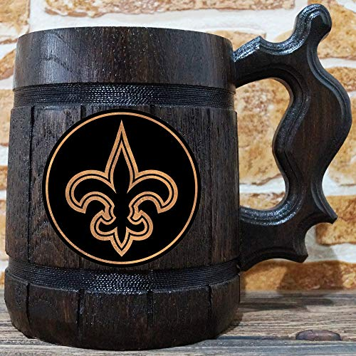 New Orleans Saints Beer Mug, American Football Wooden Beer Stein, NFL Sport Gift, Personalized Beer Stein, New Orleans Saints Tankard, Custom Gift for Men, Gift for Him