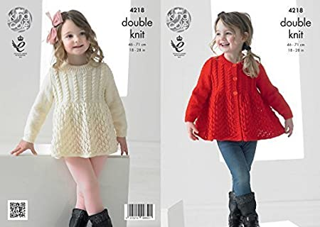 11d90021c King Cole 4218 Knitting Pattern Girls Lace Cardigan and Sweater to ...