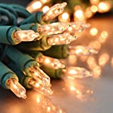 Holiday Essence 100 Clear White Christmas Lights with Green Wire – Professional Grade for Indoor / Outdoor Use – Static + Flashing