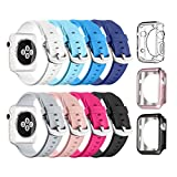 Apple Watch Sport Band 42mm, UMTELE Soft Silicone Replacement iWatch Bands Sport Strap with Buckle Clasp for Apple Watch Sport, Series 3,Series 2, Series 1, 8 Pack
