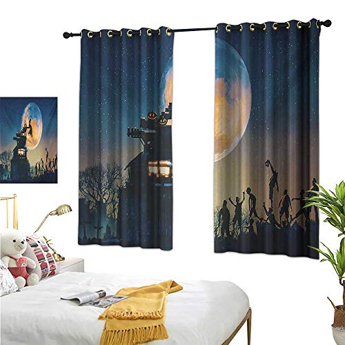 WinfreyDecor Thermal Curtains Fantasy World,Dead Queen in Castle Zombies in Cemetery Love Affair Bridal Halloween Theme,Blue Yellow 72