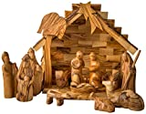 Earthwood Olive Wood Stable and Nativity Set with Modern Figures