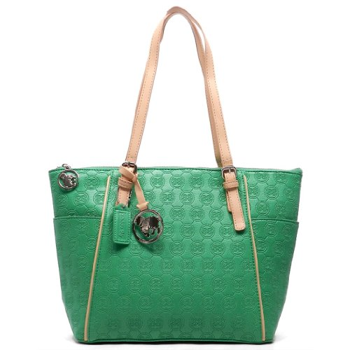 Cheap Sundae Sky SS Signature Embossed Classic Tote Handbag (Green)