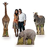Shindigz Safari Animal Jungle Party Cardboard Cutout Props, Set of 3