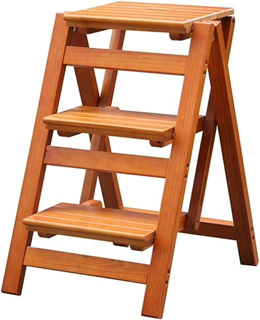 Escalera Plegable de 3 escalones, Escalera de hogar Silla de Comedor Escaleras de Tijera de Madera para niños y Adultos, Herramienta de jardín para el hogar Heavy Duty MAX. 200kg en Nuez: