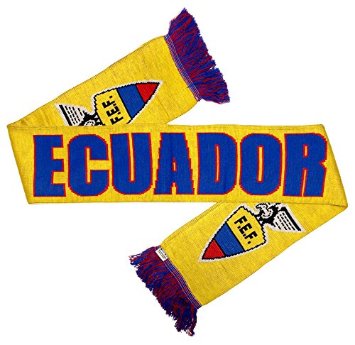 RUFFNECK National Soccer Team Ecuador Jacquard Knit Scarf, One Size, Yellow/Blue/Red