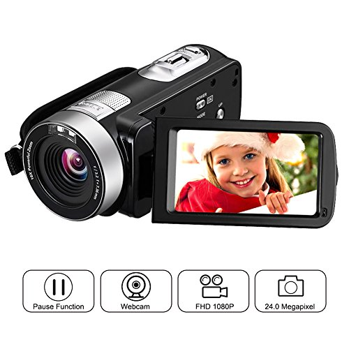 "Camcorder Full HD 1080p Webcam 24.0MP 2.7"" LCD Rotatable Screen 16x Digital Zoom Record Camera For Video Pause Function by LINNSE"