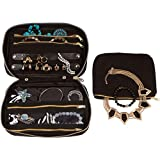 Travel Jewelry Organizer Bag, Soft Padded Storage Carrying Case for Necklace, Earrings or Rings with Removable Pouch (Jet Black)