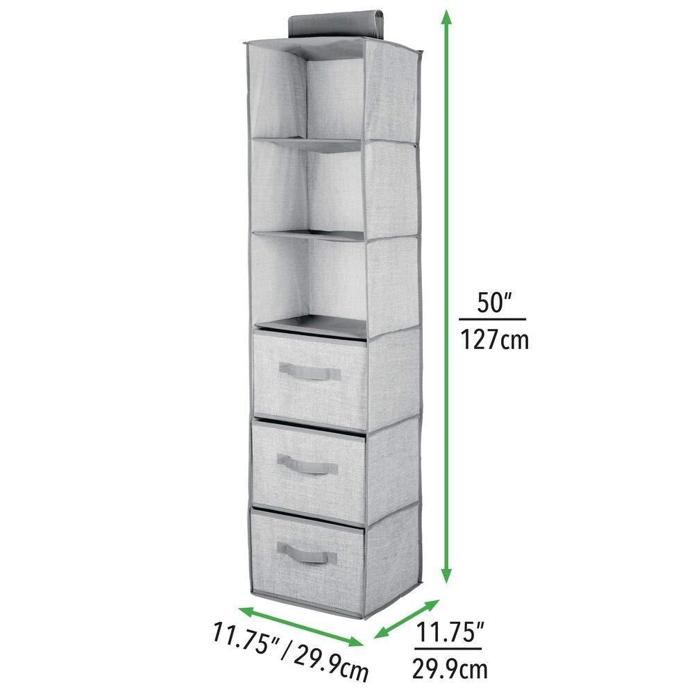 Pr/áctico colgador de armario con 3 estantes de tela y 3 cajones para dormitorio gris mDesign Organizador de armario colgante de fibra sint/ética Ideal para organizar armarios