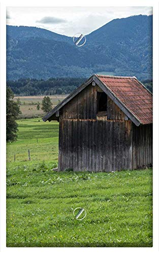 Single-Gang Blank Wall Plate Cover - Alm Hut Scale Log Cabin Meadow Mountains Alpine