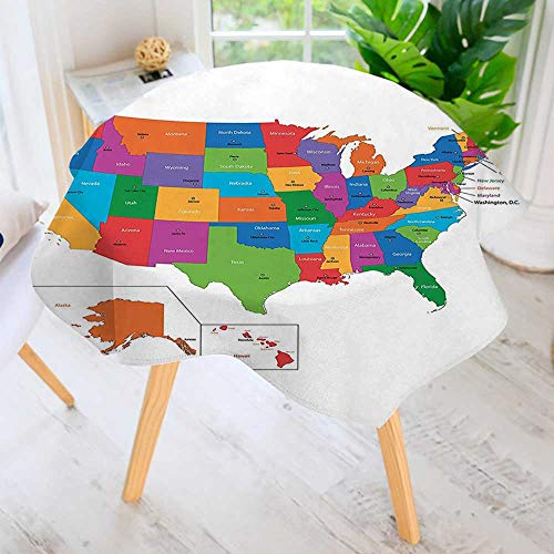 aolankaili Round Tablecloth Polyester- Map with States and