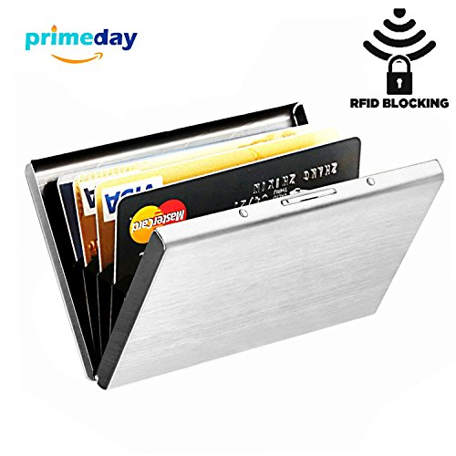 Hard Credit Card Case, MaxGear RFID Credit Card Holder for Women Stainless Steel Credit Card Case Holder with RFID Blocking Credit Card Protector Silver - Silver Card Case