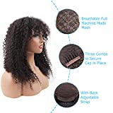 Afro Kinky Curly Human Hair Wigs with Bangs 20 Inch BLY Virgin Hair 150% Density Glueless Non Lace Front Wigs for Black Women Natural Color