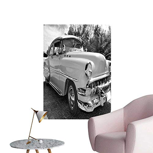 Wall Stickers for Living Room 60s Retro Classic Pin Up Style Cars in Hollywood Movies Image Artwork Black Vinyl Wall Stickers Print,16