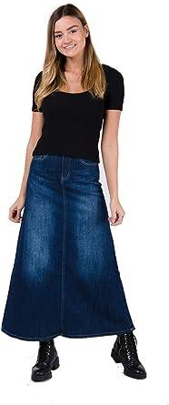 Wash Clothing Company Falda Vaquera Larga - Stonewash Falda ...