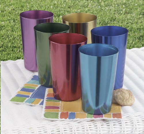 Set of Six Anodized Aluminum - Retro Glass Vintage