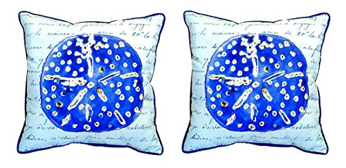 Pair of Betsy Drake Blue Sand Dollar Large Indoor/Outdoor Pillows 18 X 18 (Dollar Sand Lounge)