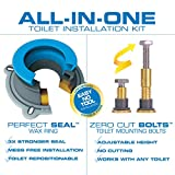 Danco 10879 All-in-One Toilet Installation Kit with Perfect Seal Wax Ring & Zero Cut Bolts, Blue and Gray 1-Pack