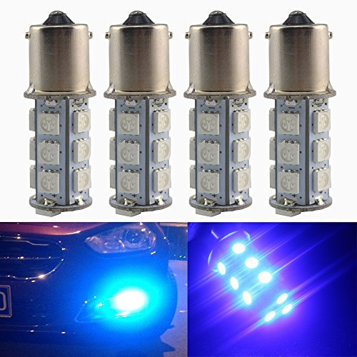 Everbright 4-Pack Blue 1156 BA15S / 1141 / 1073 / 1095 Base 18 SMD 5050 LED Replacement Bulb For RV Camper SUV MPV Car Turn Tail Signal Bulb Brake Light Lamp Backup Lamps Bulbs High LUMS (DV-12V)