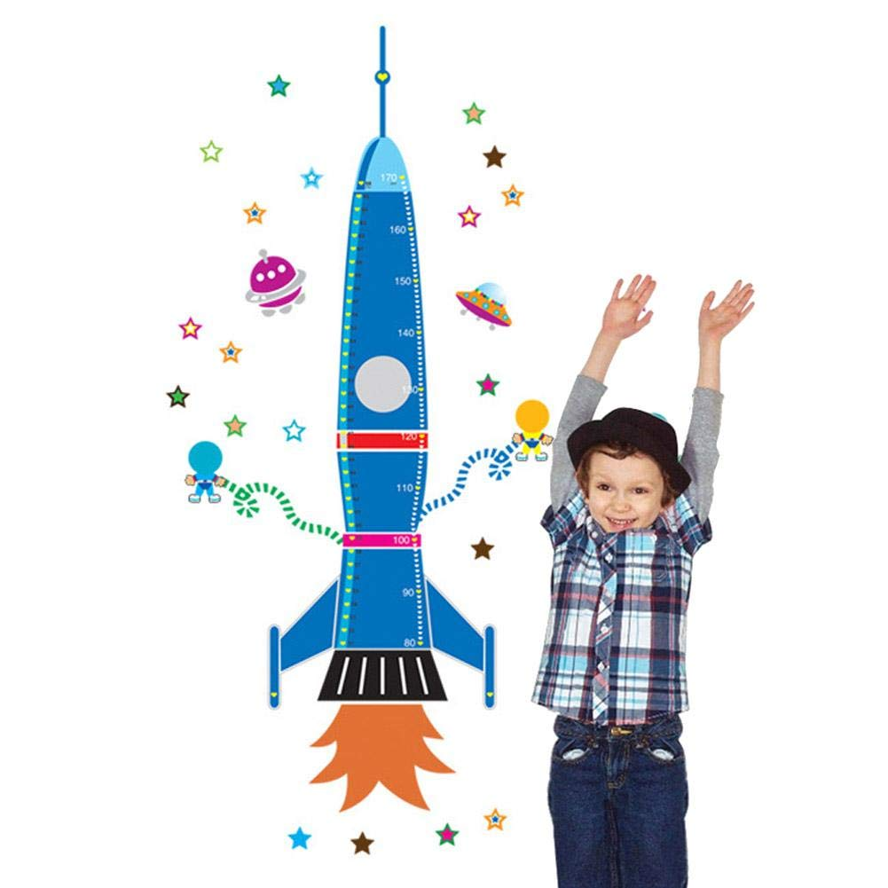 Leo565Tom Height Chart Stickers Rocket Pattern Removable Height Stickers Environmental Bedroom Wall Stickers Wall Decals Home Decoration for Kids Nursery Bedroom Living Room