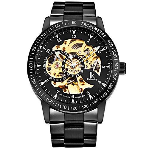 - GuTe IK Casual Mens Black Steel Skeleton Automatic Mechanical Wristwatch Golden Dial Tachymeter