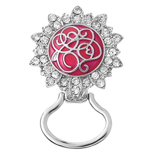 Magnetic eyeglass holder with enamel and rhinestones and free gift box (Flower with Clear Rhinestones and Red and Silver Enamel (Enamel Eyeglass Holder)