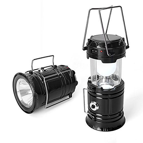 PADEK Camping Lantern,Solar Rechargeable LED Tent Light & Handheld Flashlight in the Bottom,Collapsible Portable...