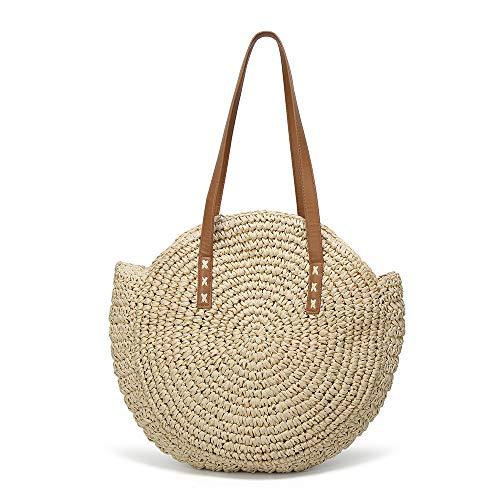 Women's Straw Handbags Large Summer Beach Tote Woven Round Pompom Handle Shoulder Bag]()