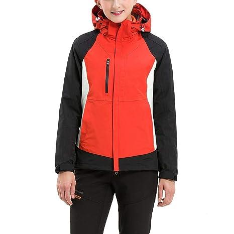 iBaste Moda Mujer Impermeable Chaqueta Montaña Cortavientos para el Aire Libre, Chaquetas Trekking Caliente Abrigo
