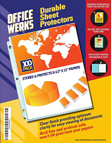 Officewerks Clear Sheet Protectors - 100 Pack, Refinforced Holes, 8.5 x 11 Inches, Acid Free/Archival Safe