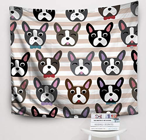 Price comparison product image Crannel Christmas Cute Dog Face Cartoon Repeat Pattern Boston Terrier French Bulldog Stripe Background Tapestry 50x60 Inches Wall Art Tapestries Hanging for Dorm Room Living Home Decorative