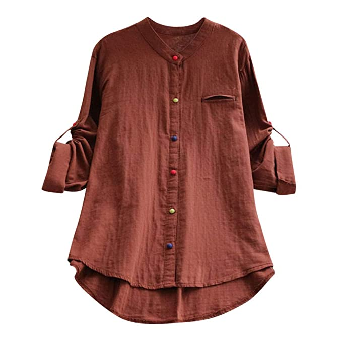 13fbd53d Spbamboo Womens Shirts Color Button Loose Long Sleeve Round Neck Linen  Blouse