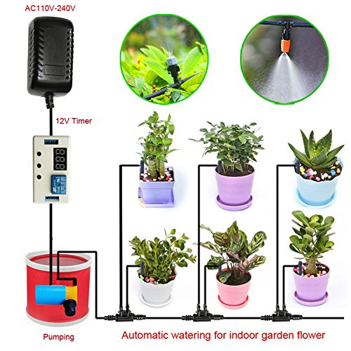 Indoor Garden Plat Automatic Watering System Timer for Home Indoor Garden Flower Irrigation,Patio,Lawn (Atomizing)