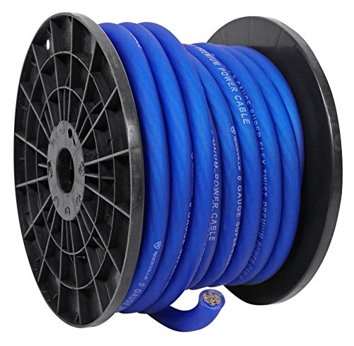 Cable Blue Wire Ground (Rockville R0G50BLUE 0 Gauge 50 Foot Spool Blue Car Amp Power+Ground Wire Cable)