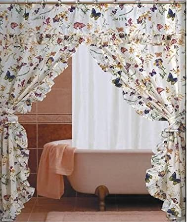 Amazoncom Butterfly Floral Double Swag With Valance Tie Backs