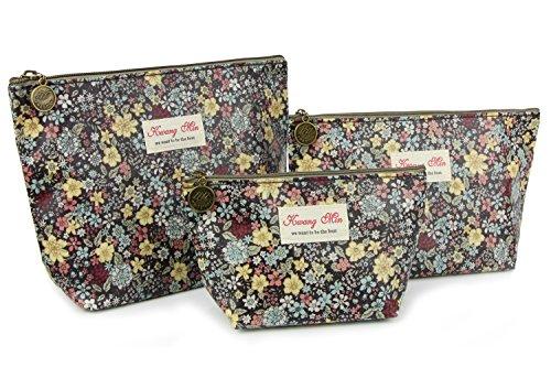 Micom Cute Floral Waterproof Travel Toiletry Cosmetic Bags Set for Women,girls (Black)