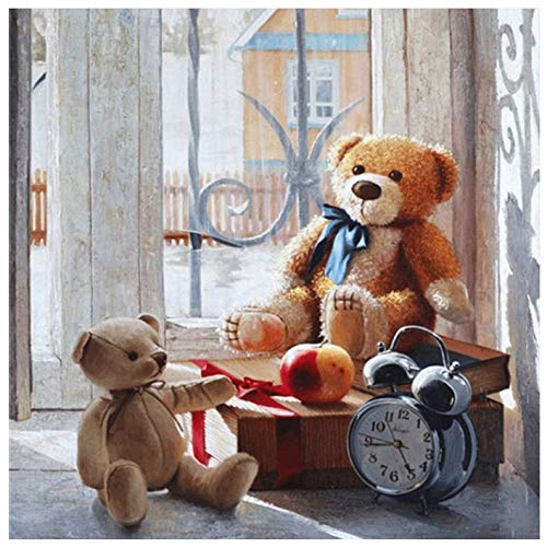 LICSE 5D DIY Painting Kit Full Drill Square Diamond Embroidery Teddy Bear Home Decor Craft 16X16 inches
