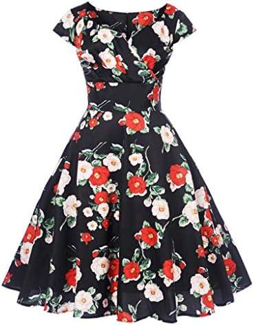Dress for Women, Botrong Vintage 1950s Retro Short Sleeve V-