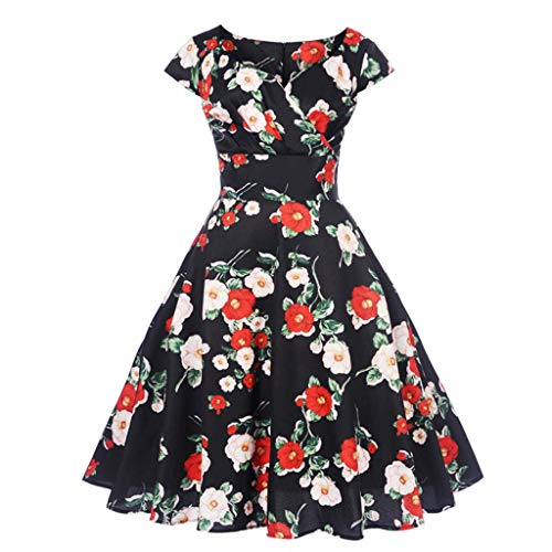 TOTOD Women Dress Plus Size Casual Elegant Short Sleeve Cold Shoulder Boho Flower Print Long Dresses Black