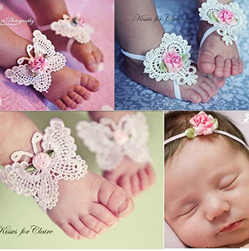 Bridal Costume Jewelry Toronto (COFFLED Pack of 4 Assorted Color Infant Soft Flower Butterfly Barefoot Sandal and Headband Set For Costume Photo Prop, Newborn Foot Flower Showes for Baby Shower Decoration Headwear and Foot Wear)