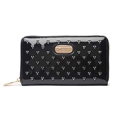 "5bc6c7e33970 Brangio Italy""Shiny Twinkle Star"" Vegan Leather Zip Around Wallet  Black"