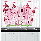 Fantasy Kitchen Curtains by Ambesonne, Princess Castle Cute Fairy Tale Princess Magic Kingdom Cartoon Illustration, Window Drapes 2 Panels Set for Kitchen Cafe, 55W X 39L Inches, Light Pink and Red