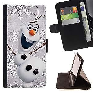 WINTER CHILDREN'S HAPPY SNOWMAN CHRISTMAS/ Personalizada del estilo del dise???¡Ào de la PU Caso de encargo del cuero del tir????n del soporte d - Cao - For Samsung Galaxy S4 Mini i9190