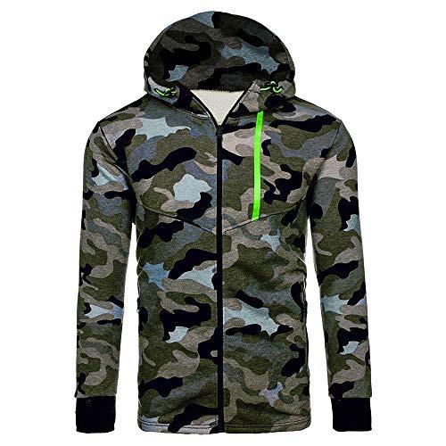 WOCACHI Mens Camouflage Jackets Lightweight Coat Hooded Zipper Warm Outerwear