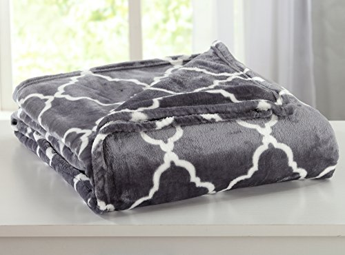 Ultra Velvet Plush All-Season Super Soft Luxury Bed Blanket with Lattice Scroll Design. Lightweight and Warm for Ultimate Comfort. By Home Fashion Designs Brand. (King, Steel Grey)