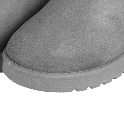 Pelliccia Inverno Di Stivaletti Grigie Da Autunno Donna Neve Foderato Moda Scarpe Stivali Caldi Stivale Clode 01qEC