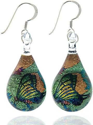 925 Sterling Silver Hand Blown Murano Glass Glitter Butterfly Wings Garden Dangle Earrings