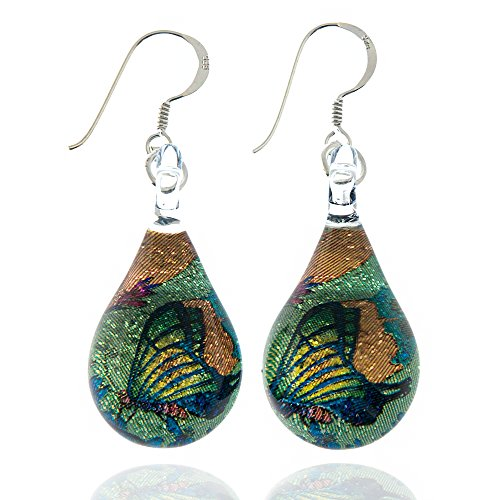 - 925 Sterling Silver Glass Jewelry Green Glittery Butterfly In The Garden Teardrop Earrings
