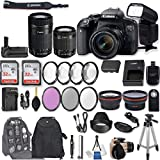 Canon EOS Rebel T7i DSLR Camera with EF-S 18-55mm f/4-5.6 is STM Lens + EF-S 55-250mm f/4-5.6 is STM Lens + 2Pcs 32GB Sandisk SD Memory + Universal Flash + Battery Grip + Filter & Macro Kits + More