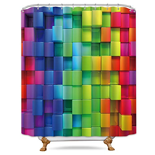 ometric Plaid Shower Curtain 72x78 Inch Free Metal Hooks 12-Pack Neon Rainbow Colored Blue Green Red Purple Decor Fabric Bathroom Set Polyester Waterproof Fabric ()